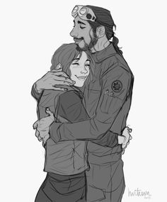 Bodhi and Jyn having a sweet, adoptive siblings moment (in the sense that they have decided to adopt each other).