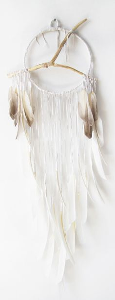 Lemuria Series 14″ ring Lemuria In Snow Quartz White with Natural Feathers, Hand Carved Branch & Quartz Crystal