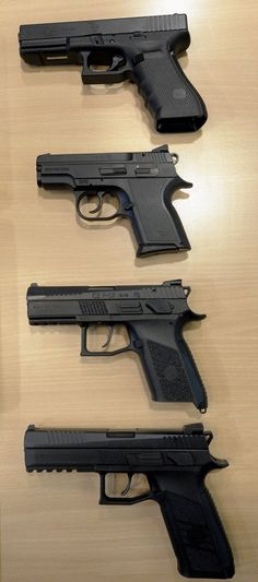 The four 9 mm semi-automatic handguns ordered by Slovakia on 16 December (from top): the Glock 17 Gen4 'intervention pistol'; and three CZ 'service pistols': the semi-compact CZ 2075D RAMI P, compact CZ P-07, and standard CZ P-09. (Slovakian Ministry of Internal Affairs)