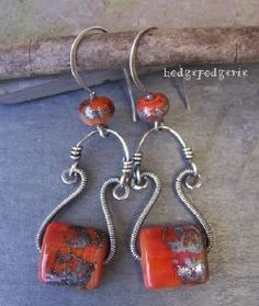 silver wirework and lampwork earrings by hodgepodgerie (inspiration)