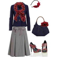 Feel free to browse here for similar skirt, scarf and accessories and get the look for less: http://apostolicclothing.com/1310-flared-maxi-skirt-with-ribbon-belt.html
