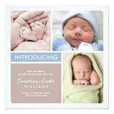 Multiple Photo Birth Announcement   Blue & Taupe Square Invitation Card