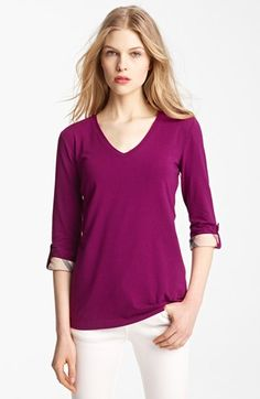 Burberry Brit Roll Sleeve Tee available at #Nordstrom. Can never go wrong with Burberry
