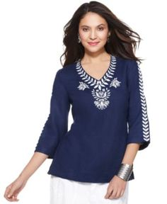 LOVE everything about this top - especially sleeve length and color. JM Collection Top, Three Quarter Sleeve Linen Embroidered Tunic - Womens - Macy's