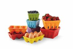 Large and Mini Strawberry Crates, 6-Sectional Ceramic Egg Holders, Ashland Signature Accents Farmer's Market @Michael Dussert's