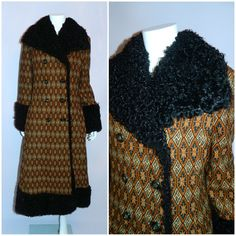 vintage 1970s coat brown Beged Or Tapestry 70s curly by retrotrend, $298.00