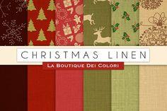 Christmas Linen Digital Papers by La Boutique dei Colori on @creativemarket