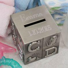 Personalized engraved birth certificate holder gifts happen here personalized engraved baby block bank gifts happen here 1 negle Images