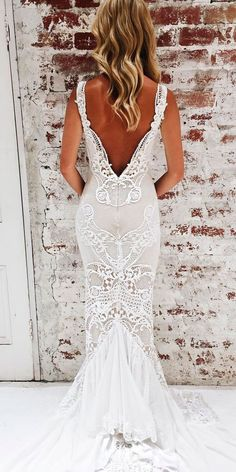 Top 18 Jane Hill Wedding Dresses From Instagram ❤️ sheath lace low back with strap jane hill wedding dresses ❤️ See more: http://www.weddingforward.com/jane-hill-wedding-dresses/ #wedding #bride
