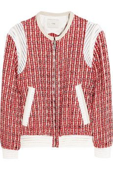 IRO Ailsa suede and mesh-trimmed tweed jacket | NET-A-PORTER