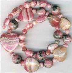 """RHODOCHROSITE Beads~Rounds, Rondells,HEARTS Argentina 17"""" str. Genuine"""