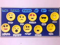 "2nd grade school bulletin board. ""The many faces of 2nd grade."" Emoji themed bulletin boards."