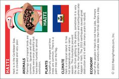 Haiti Fact Card. Printable facts about Haiti. Fill up your passport with all of our countries! Print them all from MakingFriends.com