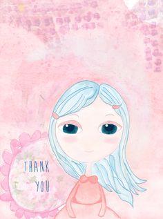 Bimba Turchina – Da Pasticcio Mixed Media a 'Thank you' Card / Mized media print, baby doll, cute girl
