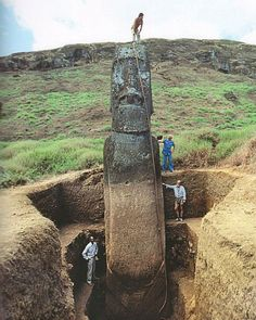 The Easter Island Heads have full bodies... It makes one wonder. Many of them wore large hats that are large and cylindrical in shape with a smaller top piece above that. There are some Easter Island Heads that are still wearing their hats that you can see here: http://www.travel-to.info/wp-content/uploads/2008/11/moais-de-playa-de-anakena.jpg