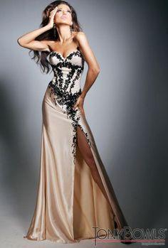 Tony Bowls Evenings TBE11314 Nude Black Lace Formal Dress at frenchnovelty.com