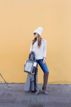 Transition from winter to spring style in grays and perforated white sweaters. Details and links on the blog!!