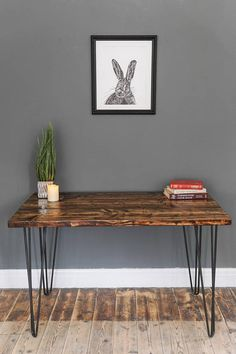 Hairpin Leg Table or Desk. Rustic Industrial Furniture, Reclaimed Wood Furniture, Industrial Style, Rustic Side Table, Home Workshop, Furniture Movers, Urban Design, Entryway Tables, Hairpin Legs