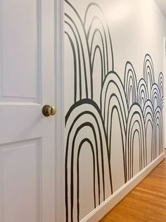 DIY Hand-Painted Black and White Rainbow Hills Mural - DIY Hand-Painted Black and White Rainbow Hills Mural DIY Hand-Painted Black and White Rainbow Mural – Cassie Bustamante Wall Design, House Design, Design Design, Hand Painted Walls, Painted Wall Murals, Mural Wall, Framed Wall, Diy Home Decor, Room Decor