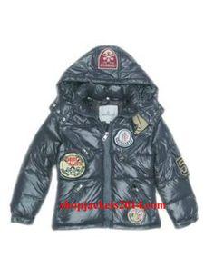 Moncler Outlet UK jackets kids down multiple logo sky grey