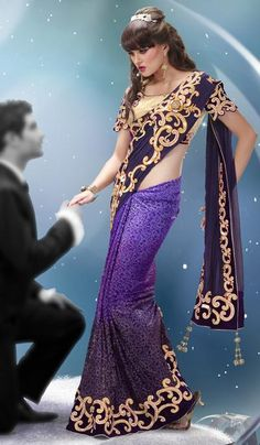 Purple Georgette Embroidered Weding Wear Lahenga Saree.    Product Code : G3-LS9025  Price : INR RS 8952