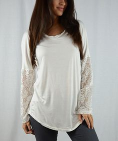 Look at this OhConcept Collection Ivory Lace-Sleeve Tunic - Women on #zulily today!