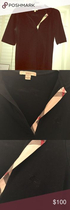 Burberry Brit top. 3/4 length sleeves. Size M Burberry Brit polo shirt. Size M. Lovely Burberry detail shows. No buttons! Burberry Tops Blouses
