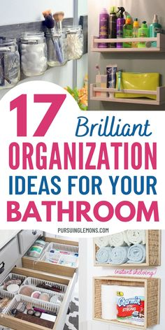 17 Bathroom Organization Ideas You Need to Know | If you're looking for smoother mornings and having an organized life, start with your bathroom. Keep your small bathroom organized with these bathroom organization hacks. You can start organizing the bathroom with these organizing ideas for bathrooms. If you want to know how to organize a bathroom, just try these bathroom organization ideas and storage. #bathroomideasdiy #organizingbathroom Small Bathroom Organization, Small Space Organization, Home Organization Hacks, Diy Bathroom Decor, Organization Ideas, How To Organize A Bathroom, Bedroom Organization, Storage Ideas, Bathroom Ideas