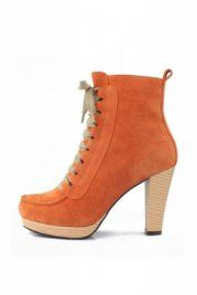 Suede Lace-Up Zipped Ankle Boot