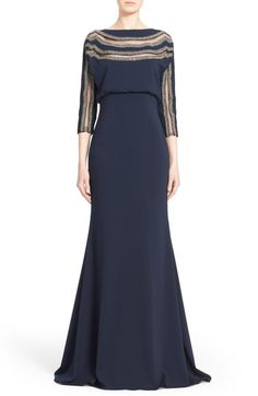 Badgley Mischka Couture Embellished Stripe Blouson Column Gown available at #Nordstrom
