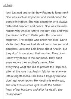 YES!!! She's the literal founder of the Rebellion, she's the legacy of Luke and Leia's goodness, she's the catalyst of the entire moral war of the central characters! #PadmeDeservedBetter
