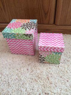 DIY mod podge boxes. Super cute!