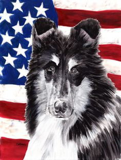 Black and White Collie with American Flag USA House Vertical Flag