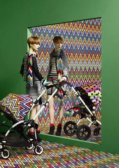 Stylish baby carriage Bugaboo Meets Missoni.  Available in July exclusively at Neiman Marcus