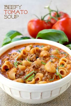 Creamy tomato soup loaded with beef and pasta, made with an easy shortcut! #GetSaucy #ad
