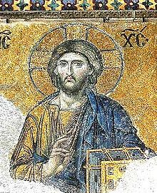 Christ Pantocrator, detail of the Deesis mosaic in Hagia Sophia - Constantinople (Istanbul) 12th century