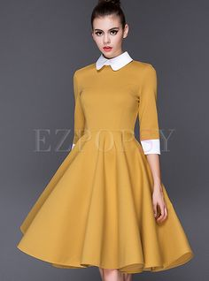 Fashion Cotton Sleeve Collect Waist Big Hem Dress - Yellow / L Day Dresses, Dresses Online, Casual Dresses, Pleated Dresses, Skater Dresses, Hippie Dresses, Prom Dresses, Pretty Dresses, Beautiful Dresses
