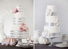 Silver lining wedding cakes by Bobbette and Belle