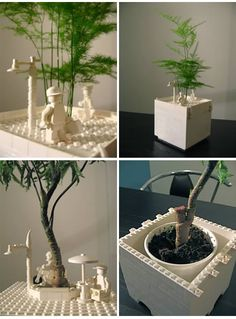 A DIY Lego version of the ceramic park planters (which depict a saucier side of park life).