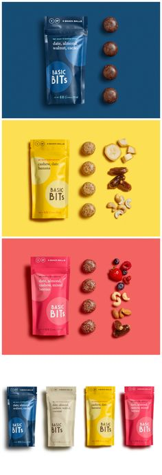 Florida Start-up has a No Fuss Approach to Brand Design and Packaging Designed by: Design Womb⠀ Project: Basic Bits Raw Snack Balls Category: food design Florida Start-up has a No Fuss Approach to Brand Design and Packaging Chip Packaging, Packaging Snack, Packaging World, Brand Packaging, Incense Packaging, Juice Packaging, Food Branding, Food Packaging Design, Logo Food