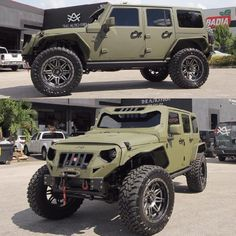 Crazy Upgrades on this Green Jeep Wrangler JK 4 Door! Jeep Jk, Jeep Rubicon, Jeep Wrangler Unlimited, Jeep Truck, Cool Jeeps, Cool Trucks, Green Jeep Wrangler, Badass Jeep, Offroader