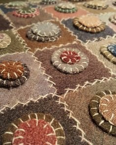 "Penny Rug, folk art  Crochet with squares, circles and buttons on the top, penny-looking buttons and call it ""Pennies from Heaven"" /MSO"
