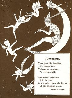 Moonbeams by Jessie Pope / Jo White illustration / provided by ElfGoblin Elf Dance, Arte Fashion, Old Children's Books, Vintage Fairies, Vintage Moon, Vintage Heart, Digital Print, Digital Image, Psychedelic Art