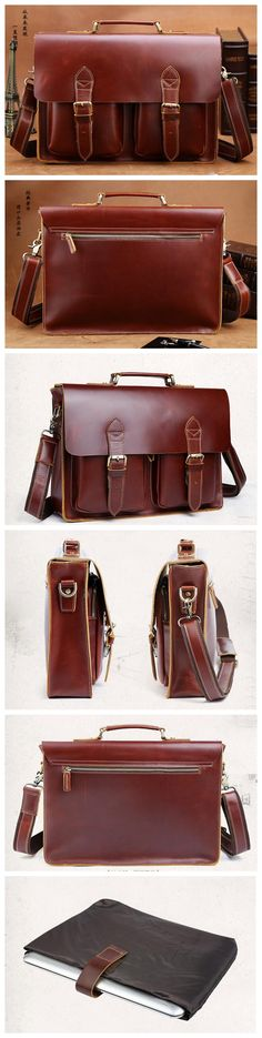 Dark Brown Large Leather Briefcase Mens Messenger Bag Business Handbag