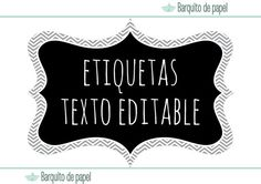 instant download printable labels ·  descarga instantanea etiquetas imprimibles · textos editables Printable Labels, Printables, Bullet Journal, Letters, Scrapbook, Fun, Gifts, Tutti Frutti, Parties