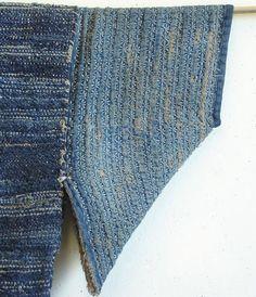 An Extraordinary Sakiori Hanten: Hemp Warp, Cotton Weft, Sashiko Stitched Sleeves
