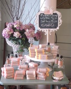 Pretty pink soap display
