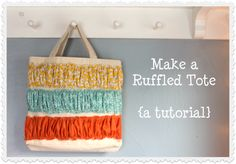 Ruffled Tote Tutorial by Dandelions on the Wall Crafts,DIY & Decor in the Mom Cave,#Momcave