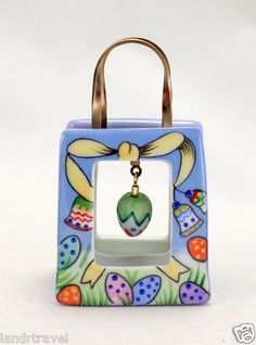 NEW EASTER FRENCH LIMOGES BOX BAG W COLORFUL EGG & BELLS & PAINTED EGGS  iandrtravel