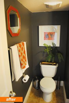 Before & After: A Light Powder Room Gets a Dark Makeover for Under $20   Apartment Therapy